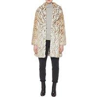 French Connection Paulette Faux Fur Coat, Pale Leopard