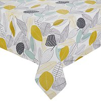 John Lewis Scandi Leaves Wipe Clean Tablecloth, Multi