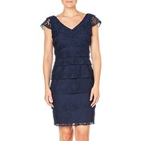 Adrianna Papell Shutter Tuck Lace Sheath Dress, Navy