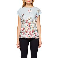 Ted Baker Soma Patchwork Woven T-Shirt, Pale Blue