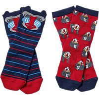 Fat Face Boys Baboon Socks, Pack of 2, Red/Blue