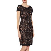 Gina Bacconi Tabitha Embroidery Dress, Black/Coffee