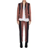 French Connection Dovie Stripe Suiting Mix Slim Trousers, Copper Coin/Utility Blue