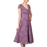 Jolie Moi Cap Sleeve Scalloped Lace Dress