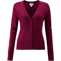 Pure Collection Ribbed Trim V-Neck Cardigan