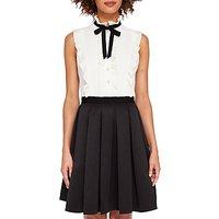Ted Baker Kimika Pleated Tie Neck Dress, Black/White
