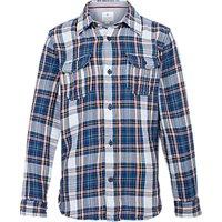 Fat Face Boys Long Sleeve Daniel Check Print Shirt, Blue