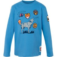 Fat Face Boys Long Sleeve Wolf T-Shirt, Blue
