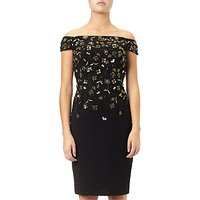 Adrianna Papell Beaded Off-Shoulder Short Dress, Black/Gold
