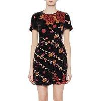 shop for French Connection Wilma Velvet Devore Short Sleeve Dress, Black/Multi at Shopo