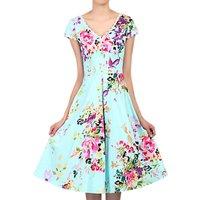 Jolie Moi Floral Print Dress, Green/Multi