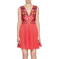 French Connection Alice Lace V Neck Dress, Watermelon/Multi