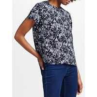 Collection WEEKEND by John Lewis Japanese Floral Print Short Sleeve Top, Navy