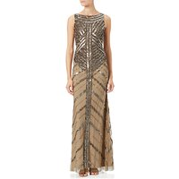 Adrianna Papell Long Beaded Dress, Antique Copper