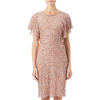 Adrianna Papell Flutter Sleeve Beaded Dress, Rose Gold