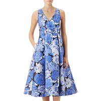 Adrianna Papell Floral Jacquard Fit and Flare Dress, Blue