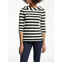 Boden Sarah Ponte Striped Top, Navy/Ivory