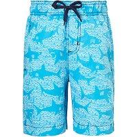 Hatley Children's Shark Print Swimming Trunks, Blue