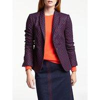 Boden Elizabeth British Tweed Blazer, Navy/Post Box Red