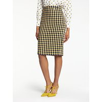 Boden Freya Pencil Skirt, Navy/Yellow Check