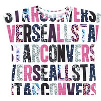 Converse Girls Party Print T-Shirt, White/Pink