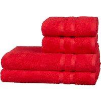 John Lewis Egyptian Cotton Single Stripe Border Towels, Red, 4 Piece
