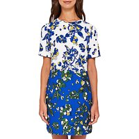 Ted Baker Canvas Colour-Block Floral Tunic, Dark Blue/Multi