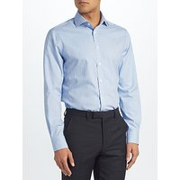 John Lewis & Partners Non Iron Gingham Tailored Fit Shirt, Blue