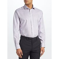 John Lewis Non Iron Check Regular Fit Shirt, Blue/Pink