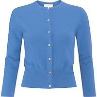 Pure Collection Crop Cashmere Cardigan, Cornflower Blue