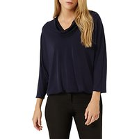 Damsel in a Dress Tokyo Cowl Neck Jersey Top, Navy