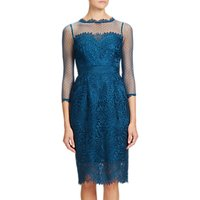 Adrianna Papell Venice Lace Midi Shift Dress, Peacock