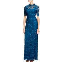 Adrianna Papell Guipure Lace Round Neck Floor Length Dress, Evening Sky