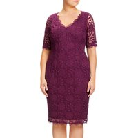 Adrianna Papell Plus Size Lace Sheath Dress, Mulberry