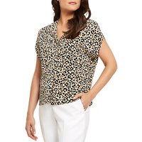 Jaeger Silk Leopard Print Blouse, Ivory/Black