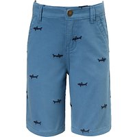 John Lewis & Partners Boys' Shark Embroidered Shorts, Blue