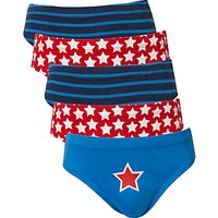 John Lewis Boys Star Stripe Print Briefs, Pack of 5, Navy/Red