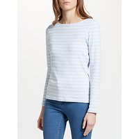 John Lewis Boat Neck Stripe Long Sleeve T-Shirt, Blue/White