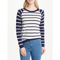Collection WEEKEND by John Lewis Cashmere Raglan Sleeve Jumper, Navy/Ivory