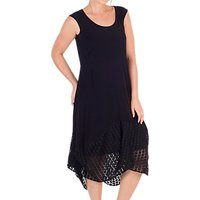 Chesca Jersey Mesh Square Hem Dress, Black
