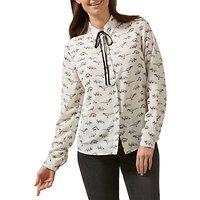 Sugarhill Boutique Catrina Jurassic Lark Tie Front Long Sleeve Shirt, Cream/Black