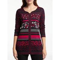 Gerry Weber Long Sleeve Printed Jersey Top, Black/Red