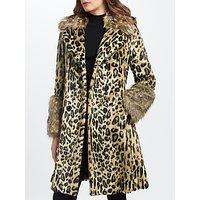 Marc Cain Leopard Print Faux Fur Coat, Hazelnut