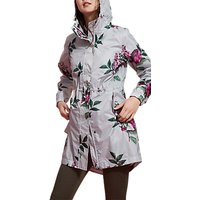 Joules Right as Rain Golightly Pack Away Waterproof Parka, Silver Artichoke Floral