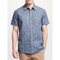John Lewis & Partners Tiger Print Short Sleeve Shirt, Navy