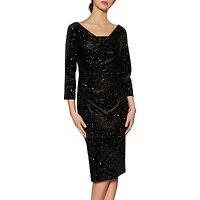 Gina Bacconi Kelly Velvet Dress, Black/Gold