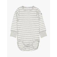 Polarn O. Pyret Baby Stripe Long Sleeve Bodysuit, Grey