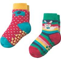 Frugi Organic Baby Grippy Bunny Socks, Pack of 2, Multi