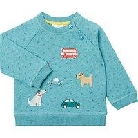 John Lewis Baby Dog and Car Badge Sweatshirt, Green Marl