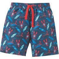 Frugi Organic Boys Board Shorts, Blue/Red